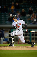 Indianapolis Indians third baseman Eric Wood (14) bats during a game against the Toledo Mud Hens on May 2, 2017 at Victory Field in Indianapolis, Indiana.  Indianapolis defeated Toledo 9-2.  (Mike Janes/Four Seam Images)