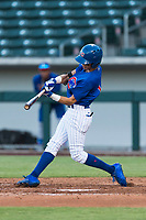 AZL Cubs 1 left fielder Ezequiel Pagan (1) swings at a pitch during an Arizona League playoff game against the AZL Rangers at Sloan Park on August 29, 2018 in Mesa, Arizona. The AZL Cubs 1 defeated the AZL Rangers 8-7. (Zachary Lucy/Four Seam Images)