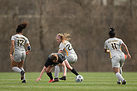 LOUISVILLE, KY - MARCH 13: Savannah McCaskill #7 of Racing Louisville FC and Chloe Adler #22 of West Virginia University fight for the ball during a game between West Virginia University and Racing Louisville FC at Thurman Hutchins Park on March 13, 2021 in Louisville, Kentucky.