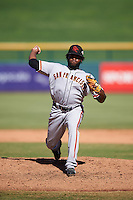Scottsdale Scorpions pitcher Rodolfo Martinez (58), of the San Francisco Giants organization, during a game against the Mesa Solar Sox on October 21, 2016 at Sloan Park in Mesa, Arizona.  Mesa defeated Scottsdale 4-3.  (Mike Janes/Four Seam Images)