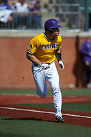 Bryson Worrell (35) of the East Carolina Pirates hustles down the first base line against the Charlotte 49ers at Hayes Stadium on March 8, 2020 in Charlotte, North Carolina. The Pirates defeated the 49ers 4-1. (Brian Westerholt/Four Seam Images)