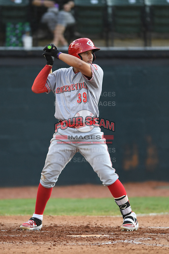 Raul Juarez (39) of the Greeneville Reds at bat during a game against the Bristol Pirates at Boyce Cox Field on July 31, 2019 in Bristol, Virginia. The Pirates defeated the Reds 13-3. (Tracy Proffitt/Four Seam Images)