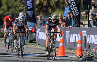 Kerri-Anne Page beats Rylee McMullen (right) to the line during the Senior Women's road race, Carterton-Martinborough-Gladstone circuit, on day two of the 2018 NZ Age Group Road Cycling Championships in Carterton, New Zealand on Sunday, 22 April 2018. Photo: Dave Lintott / lintottphoto.co.nz