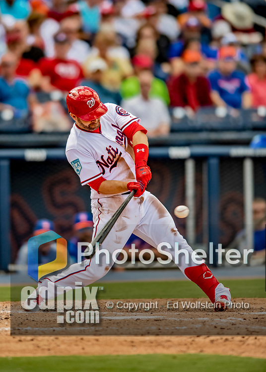 7 March 2019: Washington Nationals infielder Brian Dozier at bat during a Spring Training Game against the New York Mets at the Ballpark of the Palm Beaches in West Palm Beach, Florida. The Nationals defeated the visiting Mets 6-4 in Grapefruit League, pre-season play. Mandatory Credit: Ed Wolfstein Photo *** RAW (NEF) Image File Available ***