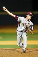 Florida State Seminoles relief pitcher Robert Benincasa #22 delivers a pitch to the plate against the Wake Forest Demon Deacons at Wake Forest Baseball Park on March 24, 2012 in Winston-Salem, North Carolina.  The Seminoles defeated the Demon Deacons 3-2.  (Brian Westerholt/Four Seam Images)