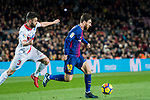 Lionel Andres Messi (R) of FC Barcelona fights for the ball with Ruben Duarte of Deportivo Alaves during the La Liga 2017-18 match between FC Barcelona and Deportivo Alaves at Camp Nou on 28 January 2018 in Barcelona, Spain. Photo by Vicens Gimenez / Power Sport Images
