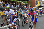 Riders cross the finish line at the end of Stage 3 of the 99th edition of the Tour de France 2012, running 197km from Orchies to Boulogne-sur-Mere, France. 3rd July 2012.<br /> (Photo by Eoin Clarke/NEWSFILE)