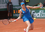 Alize Cornet (FRA) defeats Mirjana Lucic-Baroni (CRO) 4-6, 6-3, 6-5 at  Roland Garros being played at Stade Roland Garros in Paris, France on May 29, 2015
