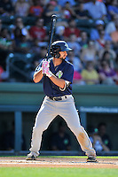 Second baseman Vinny Siena (9) of the Columbia Fireflies bats in a game against the Greenville Drive on Sunday, May 8, 2016, at Fluor Field at the West End in Greenville, South Carolina. Greenville won, 5-4. (Tom Priddy/Four Seam Images)
