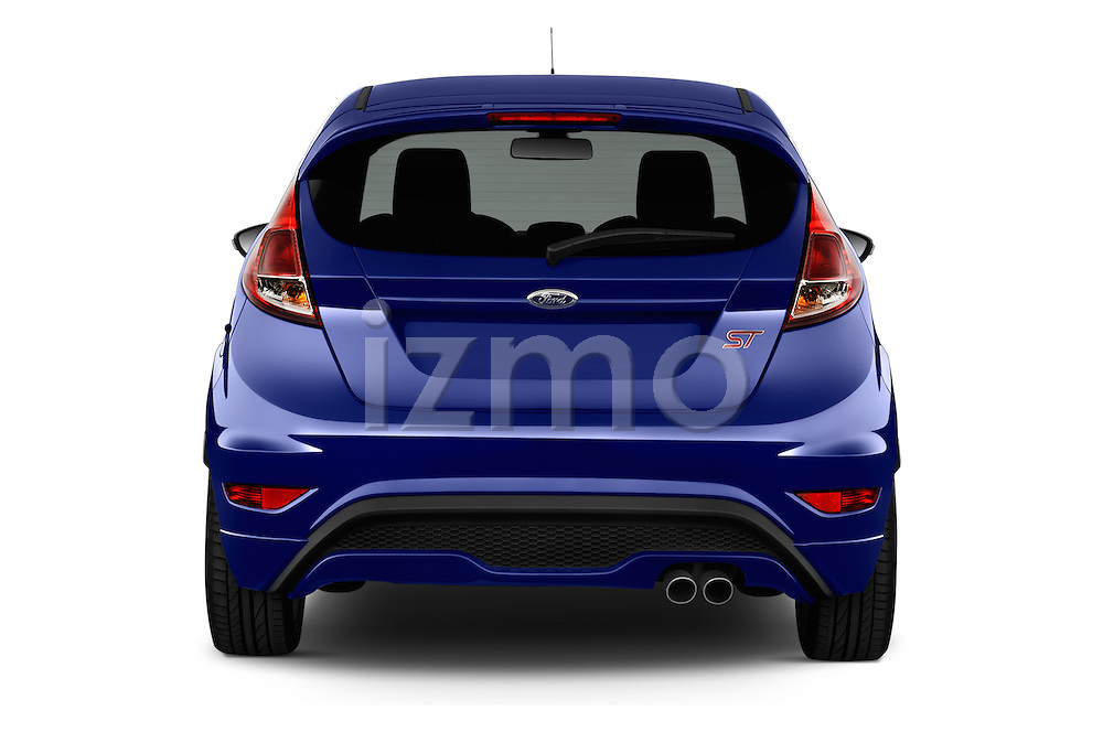 Straight rear view of a 2014 Ford FIESTA ST MT 2WD 3 Door Hatchback 2WD Rear View  stock images