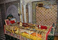 Tunis, Tunisia.  Coffin of Sidi Kacem Al-Jalizi, died 1496.  Tunisia's most famous ceramic artist.