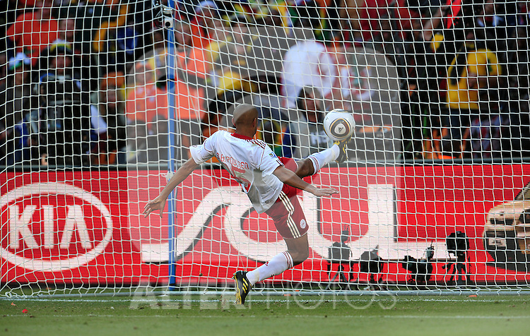 15 Simon POULSEN saving a certain goal during the 2010 World Cup Soccer match between Denmark and Nederland played at Soccer City Stadium in Johannesburg South Africa on 14 June 2010.