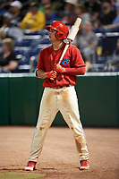 Clearwater Threshers Mickey Moniak (2) on deck during a game against the Dunedin Blue Jays on April 6, 2018 at Spectrum Field in Clearwater, Florida.  Clearwater defeated Dunedin 8-0.  (Mike Janes/Four Seam Images)