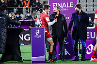 16th October 2020, Stade Maurice David, Aix-en-Provence, France;  Challenge Cup Rugby Final Bristol Bears versus RC Toulon;  Remise de la coupe - Bruno Muselier - Baptiste Serin (RC Toulon)