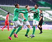 18th May 2020, WESERSTADION, Bremen, Germany; Bundesliga football, Werder Bremen versus Bayer Leverkusen; Goal celebration for 1:1: from scorer Theodor Gebre Selassie (Bremen) with Leonardo Bittencourt (Bremen)