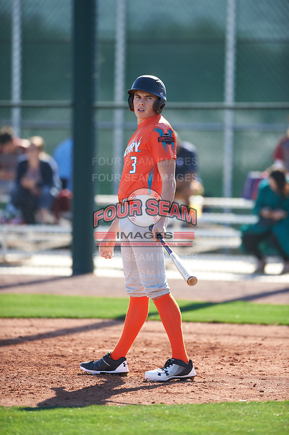 Petie Minor (3) of Golden Valley High School in EL Nido, California during the Baseball Factory All-America Pre-Season Tournament, powered by Under Armour, on January 13, 2018 at Sloan Park Complex in Mesa, Arizona.  (Zachary Lucy/Four Seam Images)
