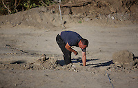Pictured: A forensic archaeologist works at the second site in Kos, Greece. Saturday 15 October 2016<br />Re: Police teams led by South Yorkshire Police are searching for missing toddler Ben Needham on the Greek island of Kos.<br />Ben, from Sheffield, was 21 months old when he disappeared on 24 July 1991 during a family holiday.<br />Digging has begun at a new site after a fresh line of inquiry suggested he could have been crushed by a digger.