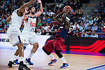 Real Madrid's players Anthony Randolph and Sergio Llull and FC Barcelona Lassa's player Tyrese Rice during the match of the semifinals of Supercopa of La Liga Endesa Madrid. September 23, Spain. 2016. (ALTERPHOTOS/BorjaB.Hojas)