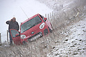 29/01/19<br /> <br /> A man calls for help after his car slides off the A53 near Axe Edge as heavy snow begins to fall between Buxton and Leek in Derbyshire.<br /> <br /> <br /> All Rights Reserved, F Stop Press Ltd +44 (0)7765 242650  www.fstoppress.com rod@fstoppress.com