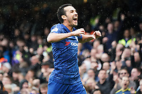 Chelsea's Pedro celebrates scoring his side's second goal <br /> <br /> Photographer Stephanie Meek/CameraSport<br /> <br /> The Premier League - Chelsea v Everton - Sunday 8th March 2020 - Stamford Bridge - London<br /> <br /> World Copyright © 2020 CameraSport. All rights reserved. 43 Linden Ave. Countesthorpe. Leicester. England. LE8 5PG - Tel: +44 (0) 116 277 4147 - admin@camerasport.com - www.camerasport.com