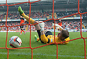 Hamilton's Anthony Andreu starts his celebrations as Dundee Utd keeper Radoslaw Cierzniak can only look at the ball in the back of the net after he was beaten by an easy shot.