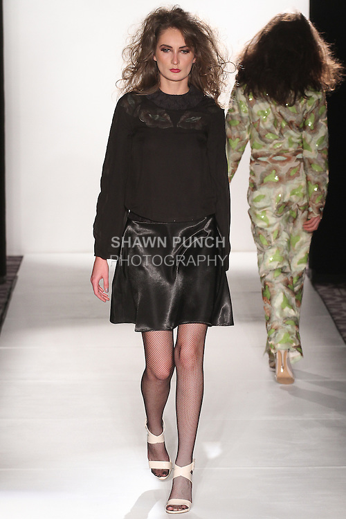 "Model walks runway in an outfit from the Bea Rodriguez ""Klimpted"" Fall Winter 2015 collection, during the Pret-A-Porter Fall 2015 fashion show for  Fashion Gallery New York Fashion Week Fall 2015."