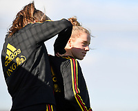 20190228 - LARNACA , CYPRUS : Belgian Elena Dhont (r) pictured during a Matchday -1 training from The Belgian Red Flames prior to their game against the women team of Austria , on Thursday 28 February 2019 at the Alpha Sports Grounds in Larnaca , Cyprus . This will be the second game in group C for Belgium during the Cyprus Womens Cup 2019 , a prestigious women soccer tournament as a preparation on the European Championship 2021 qualification duels. PHOTO SPORTPIX.BE | DAVID CATRY