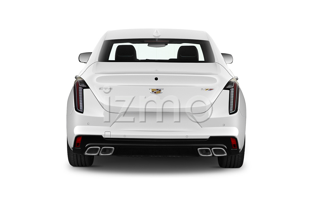 Straight rear view of 2020 Cadillac CT4-V V-Series 4 Door Sedan Rear View  stock images