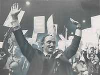 1968 FILE PHOTO - ARCHIVES -<br /> <br /> Victory Salute by Pierre Elliott Trudeau; at the week end convention in Ottawa's Civic Centre which named him prime minister designate; came as the climax to a remarkable career which has taken him to the deserts of Afghanistan; the jungles of Viet Nam; the bistros of Paris and the labor wars of Quebec and now to 24 Sussex Dr.; Ottawa.<br /> <br /> PHOTO : Reg INNELL - Toronto Star Archives - AQP