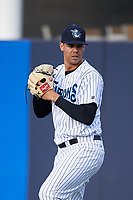 Tampa Tarpons starting pitcher Freicer Perez (37) warms up in the outfield before a game against the Fort Myers Miracle on May 2, 2018 at George M. Steinbrenner Field in Tampa, Florida.  Fort Myers defeated Tampa Tarpons 5-0.  (Mike Janes/Four Seam Images)
