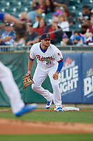Buffalo Bisons first baseman Rowdy Tellez (21) during a game against the Syracuse Chiefs on June 30, 2017 at Coca-Cola Field in Buffalo, New York.  Syracuse defeated Buffalo 8-1.  (Mike Janes/Four Seam Images)