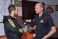 RadioSport's Jason Pine interviews Phoenix captain Andrew Durante at Newtown Park in Wellington, New Zealand on Tuesday, 6 December 2016. Photo: Dave Lintott / lintottphoto.co.nz