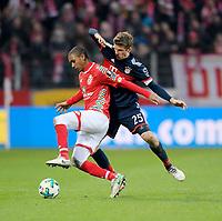 03.02.2018,  Football 1.Liga 2017/2018, 21. match day, 1.FSV Mainz - FC Bayern Muenchen, in Opel-Arena Mainz. v.li: Abdou Diallo (FSV Mainz 05)  -  Thomas Mueller (FC Bayern Muenchen). *** Local Caption *** © pixathlon<br /> <br /> +++ NED + SUI out !!! +++<br /> Contact: +49-40-22 63 02 60 , info@pixathlon.de