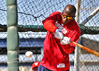 19 February 2011: Washington Nationals' outfielder Nyjer Morgan takes hitting drills during Spring Training at the Carl Barger Baseball Complex in Viera, Florida. Mandatory Credit: Ed Wolfstein Photo