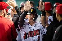 Indianapolis Indians center fielder Kevin Newman (2) is congratulated by teammates after scoring a run during an International League game against the Columbus Clippers on April 29, 2019 at Victory Field in Indianapolis, Indiana. Indianapolis defeated Columbus 5-3. (Zachary Lucy/Four Seam Images)