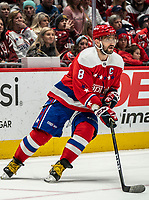WASHINGTON, DC - JANUARY 31: Alex Ovechkin #8 of the Washington Capitals starts an attack during a game between New York Islanders and Washington Capitals at Capital One Arena on January 31, 2020 in Washington, DC.