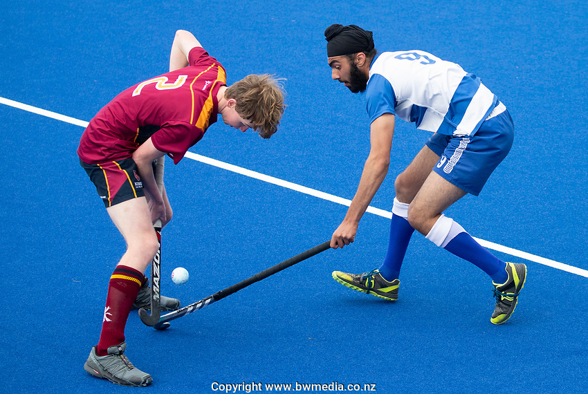 Kings College Max Stening and Saint Kentigern College Mansimrit Singh - during the Division A Boys Final, between Saint Kentigern College and Kings College, during Upper North Island Secondary School Hockey Championship, North Harbour Hockey, North Shore, Auckland . Friday 9 October 2020 Photo: Brett Phibbs / www.bwmedia.co.nz / Hockey New Zealand