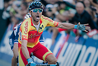 Alejandro Valverde (ESP/Movistar) outsprints Romain Bardet (FRA/AG2R-LaMondiale) & Michael Woods (CAN/EducationFirst-Drapac) for a sweet rainbow victory<br /> <br /> MEN ELITE ROAD RACE<br /> Kufstein to Innsbruck: 258.5 km<br /> <br /> UCI 2018 Road World Championships<br /> Innsbruck - Tirol / Austria