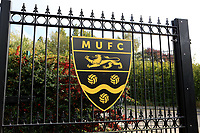 General view of the main gates outside the ground showing the Club badge during Maidstone United vs Eastbourne Borough, Vanarama National League South Football at the Gallagher Stadium on 9th October 2021
