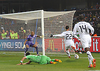Second-half substitute Bennie Feilhaber attacks the Algerian goal from along the baseline. The United States won Group C of the 2010 FIFA World Cup in dramatic fashion, 1-0, over Algeria in Pretoria's Loftus Versfeld Stadium, Wednesday, June 23rd..