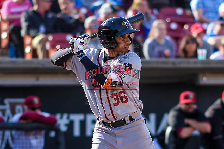 Quad Cities River Bandits infielder Anibal Sierra (36) at bat during a Midwest League game against the Wisconsin Timber Rattlers on April 8, 2017 at Fox Cities Stadium in Appleton, Wisconsin.  Wisconsin defeated Quad Cities 3-2. (Brad Krause/Four Seam Images)