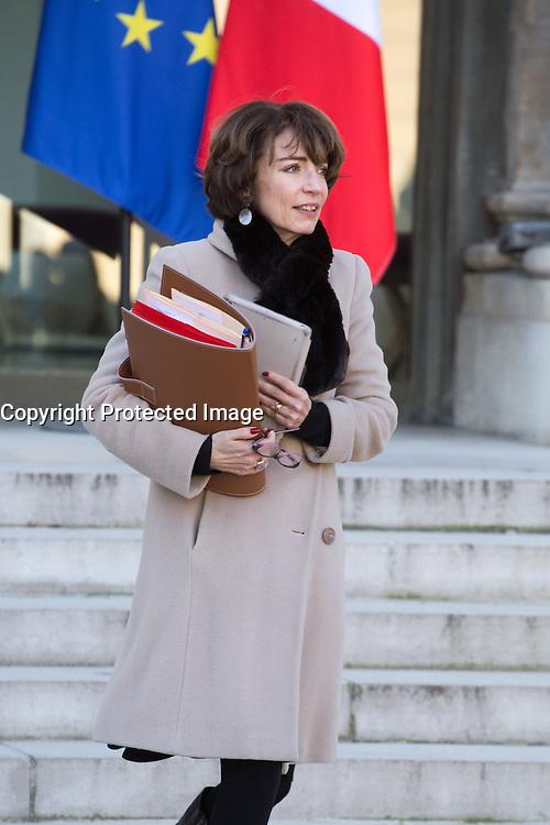 PARIS , PALAIS DE L'ELYSEE LE 18 / 01 / 2017<br /> SORTIE DU CONSEIL DES MINISTRES<br /> MARISOL TOURAINE , MINISTRE DES AFFAIRES SOCIALES ET DE LA SANTE