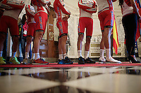 Team Katusha waiting to go out and meet the crowd<br /> <br /> Giro d'Italia 2014<br /> Opening Ceremony