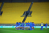 The Samoa team huddles before the international rugby match between Manu Samoa and the Maori All Blacks at Sky Stadium in Wellington, New Zealand on Saturday, 26 June 2021. Photo: Dave Lintott / lintottphoto.co.nz