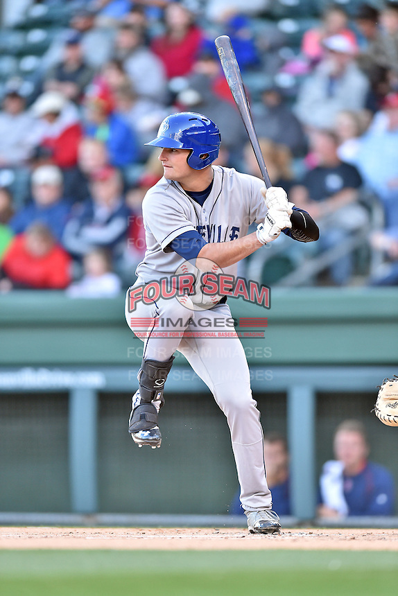 Asheville Tourists left fielder Sam Hilliard (25) swings at a pitch during a game against the Greenville Drive at Fluor Field on April 7, 2016 in Greenville South Carolina. The Drive defeated the Tourists 4-3. (Tony Farlow/Four Seam Images)
