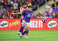 Orlando, FL - Wednesday July 31, 2019:  Leandro Gonzalez Pirez #5, Diego Costa #19 during an Major League Soccer (MLS) All-Star match between the MLS All-Stars and Atletico Madrid at Exploria Stadium.