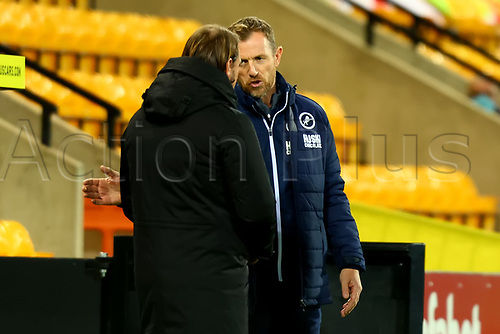 3rd November 2020; Carrow Road, Norwich, Norfolk, England, English Football League Championship Football, Norwich versus Millwall; Millwall Manager Gary Rowett speaks with Norwich City Manager Daniel Farke