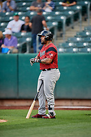 Hector Sanchez (29) of the Sacramento River Cats bats against the Salt Lake Bees at Smith's Ballpark on May 17, 2018 in Salt Lake City, Utah. Salt Lake defeated Sacramento 12-11. (Stephen Smith/Four Seam Images)