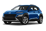 Stock pictures of low aggressive front three quarter view of 2021 Hyundai Kona Techno 5 Door SUV Low Aggressive