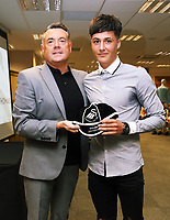 Pictured: Academy manager Nigel Rees presents young player with cap.  Thursday 06 July 2017<br /> Re: Swansea City FC Academy U9 signings at the Liberty Stadium, Wales, UK